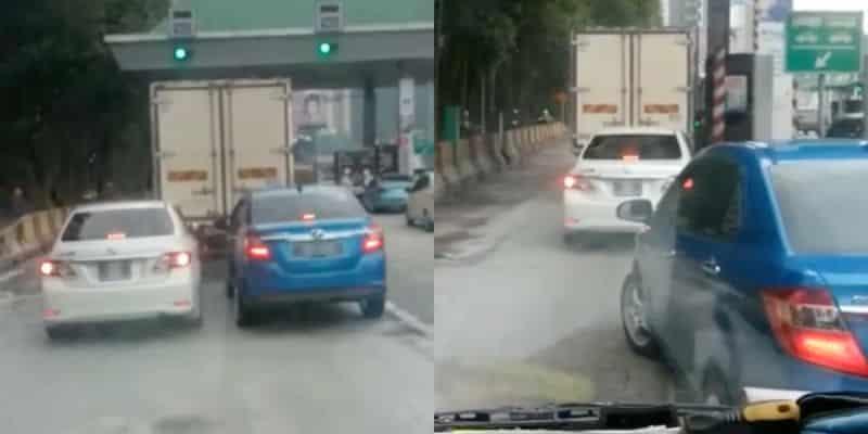 [Video] Tidak Mahu Mengalah Di Laluan Tol, Terhibur Lihat Gelagat 2 kereta ini